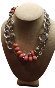 Pink Necklace Super Long Pink and Silver Chunky Chain Necklace