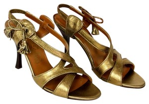 Salvatore Ferragamo Open Toe Espadrille Gold Sandals