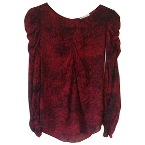 Whistles Silk Stretch Top Red Black