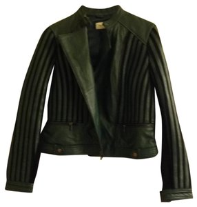 Neiman Marcus Forest green w black knit trim Leather Jacket