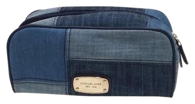Item - Blue Denim Gold Navy Abbey Large Travel Pouch Cosmetic Bag