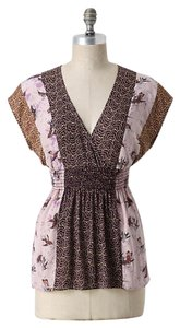 Corey Lynn Calter Print Silk Anthropologie Top Pink, purple and brown
