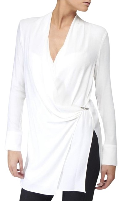 Preload https://img-static.tradesy.com/item/19819903/helmut-lang-white-draped-with-leather-trim-and-metal-clasp-blouse-size-0-xs-0-1-650-650.jpg
