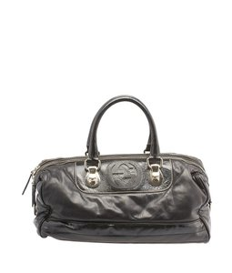 Gucci Snow Glam Leather Satchel in Black