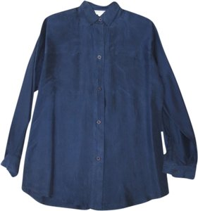 Casual Corner Button Down Shirt Navy