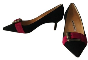 Manolo Blahnik Black suede with raspberry band Pumps