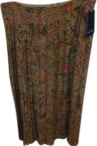 Dana Buchman Maxi Skirt Browns/red/black