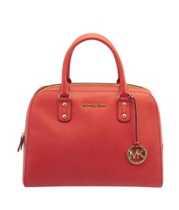 Michael Kors Leather Satchel in Red