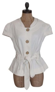 Diane von Furstenberg Textured Belted Office Evening Top IVORY