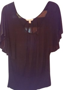 Decree Scoop Scoop Neck Flutter Sleeves T Shirt Black