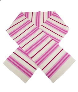 Burberry Burberry, White, Pink, Stripes, Lambswool, Scarf