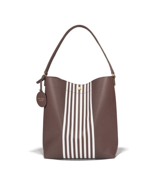 Item - Limited Edition Signature Brown; White Faux Leather Hobo Bag