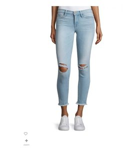 Frame Denim Cropped Denim Skinny Jeans-Light Wash