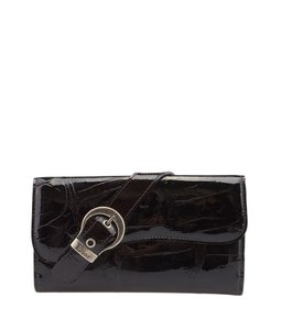 Dior Christian Dior, Gaucho, Burgundy, Crocodile, Embossed, Leather, Snap, Wallet