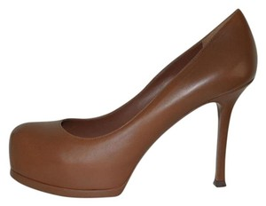 Saint Laurent Patent Leather Hidden Platform Tribtoo Tribute Cognac Pumps