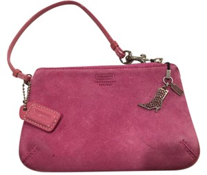 Coach pink suede leather coach wristlet
