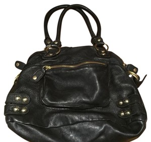 Linea Pelle Black Leather Tote Hobo Bag