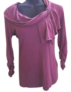 New York & Company Asymmetric Fall Autumn Ruched Top Purple