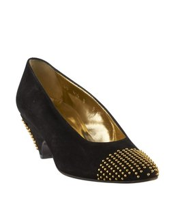 Escada Gold Fabric Black Pumps