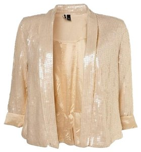 Topshop Sequin Holiday Party Glam Ivory Blazer