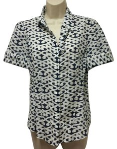 Ann Taylor Button Down Shirt navy, white