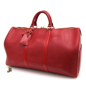 Louis Vuitton Keep Keepall 50 Red Travel Bag