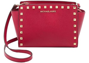 Michael Kors Selma Studded Cross Body Medium Red Messenger Bag
