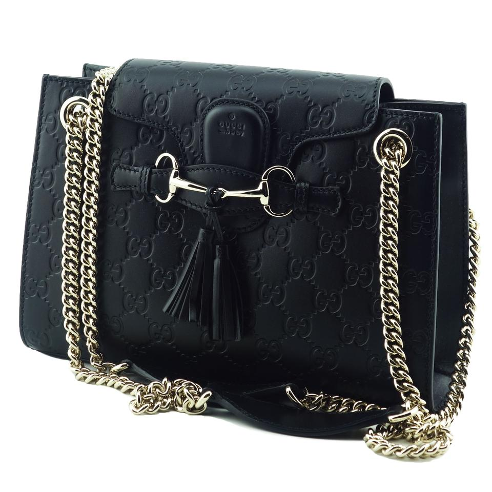 a7c4b533daa Gucci Emily 369621 Gg Guccissima Chain Black Leather Shoulder Bag ...