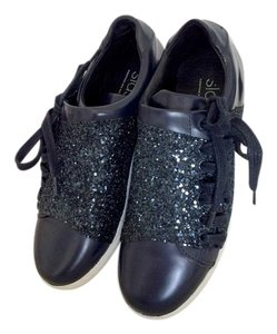 Comptoir des Cotonniers Leather Blue Navy Sparkly Sneakers Navy Blue Athletic