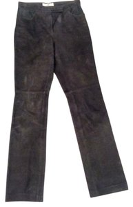 A|X Armani Exchange Leather Suede Leather Straight Pants black
