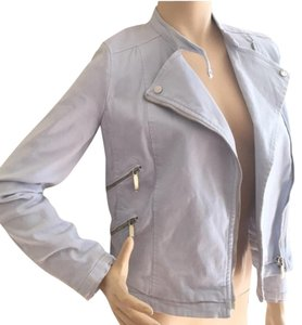 Zara Motorcycle Denim Zips blue Womens Jean Jacket