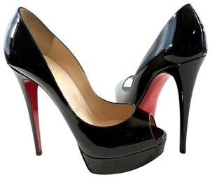 Christian Louboutin Patent Leather Pump Peep Toe Covered Made In Italy Black Platforms