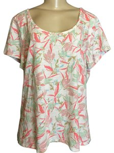 J. Jill T Shirt White With Pink Floral Print