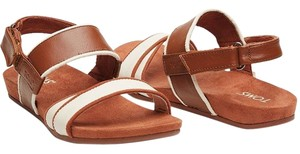 TOMS Leather Suede Tan/ Cognac & Cream Sandals
