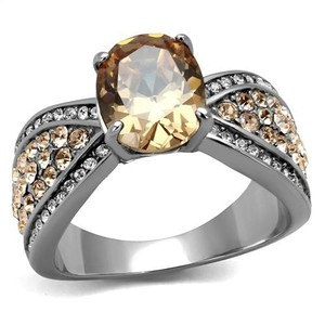 La Bella Rose Stainless Steel Champagne CZ Ring - 08125