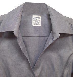 Brooks Brothers Fitted Business Blouse Crisp Button Down Shirt Blue