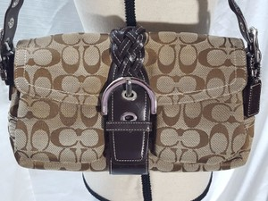Coach Leather Fabric One Shoulder Bag