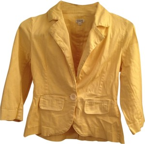 Button Fitted Yellow Blazer