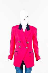 Dior Vintage Christian Dior Pink Navy Blue Textured Woven Double Breasted Blazer