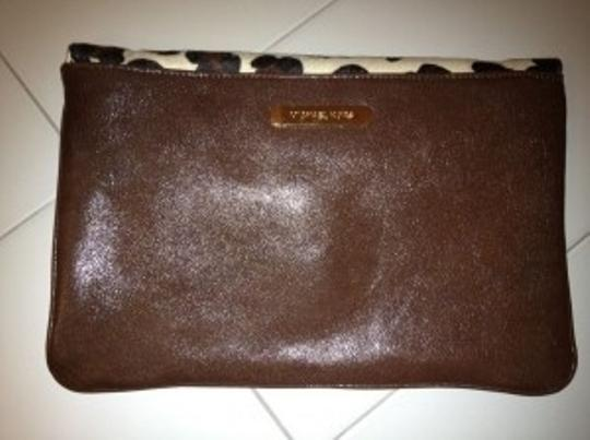 Michael Kors Unique Dual Gold, brown & animal hair Clutch
