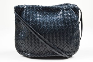 Bottega Veneta Vintage Navy Leather Intrecciato Drawstring Shoulder Bag