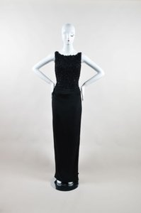 Black Maxi Dress by Stephen Yearick Silk Bead Embellished Formal Evening Long Sl