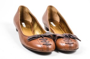 Miu Miu Leather Laced Brown Flats