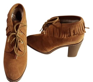 Tory Burch fringed suede ankle booties Hilary 100mm Tan Boots