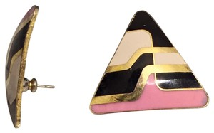 Other Vintage Mod Enamel Triangle Pink And Black Stud Earrings
