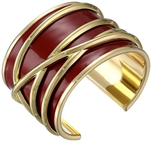 Belle Noel Belle Noel Burgundy Enamel Gold Thread Bangle Bracelet, 2.5