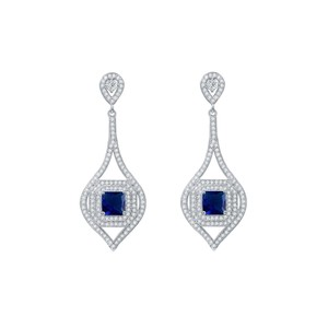 Fine Jewelry Vault CZ Royal Blue Gemstone Leaf Design Halo Drop Earrings