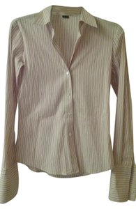 Theory Button Down Shirt white and pink with pin stripe