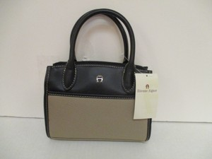 Etienne Aigner Leather Petite Travel Twill Taupe Satchel