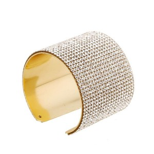 Gold Luxury Cuff Wide Full Rhinestone Bangle Bracelets For Women